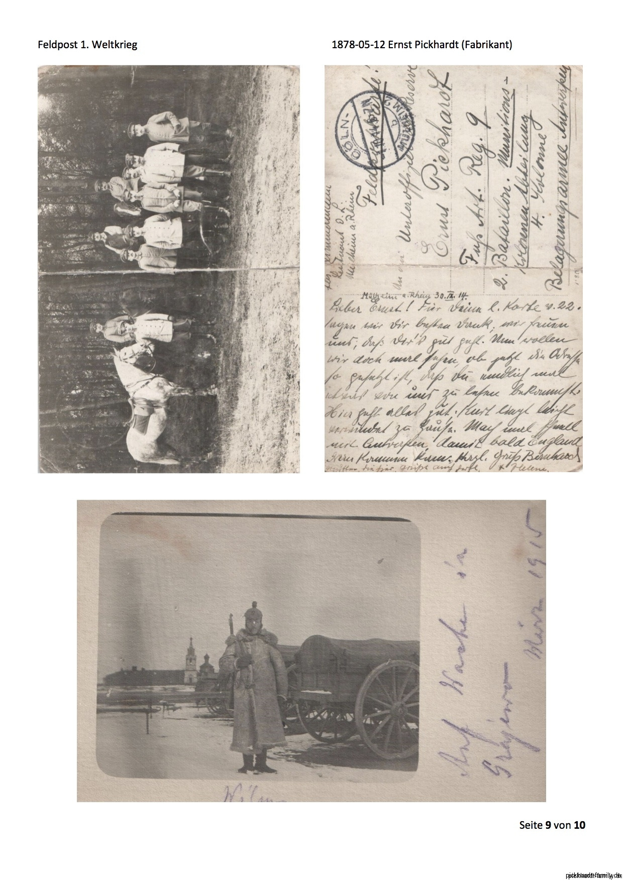 1914 Feldpost von Ernst Pickardt als Einjährig-Freiwilliger in Russland1