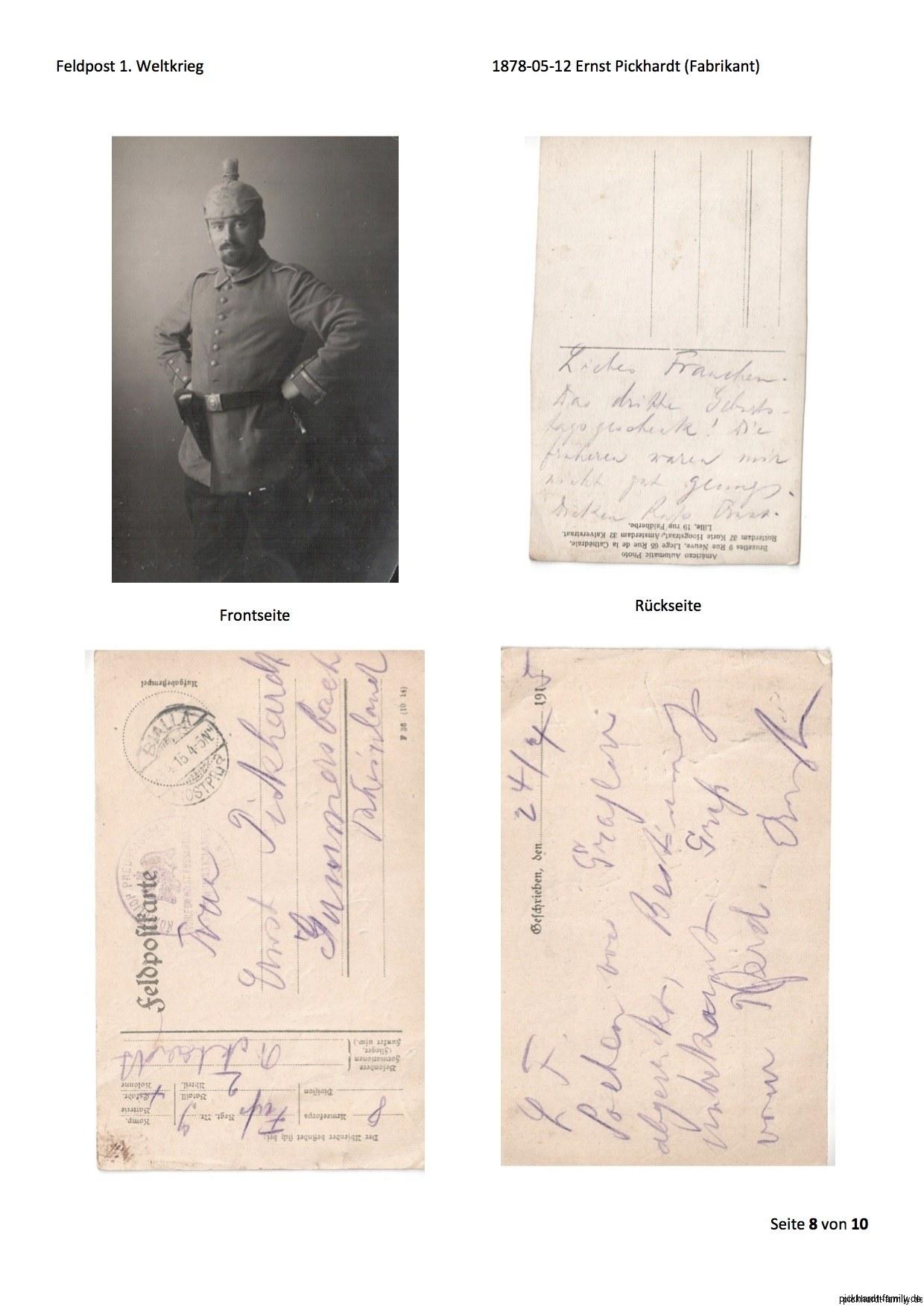 1914 Feldpost von Ernst Pickardt als Einjährig-Freiwilliger in Russland2
